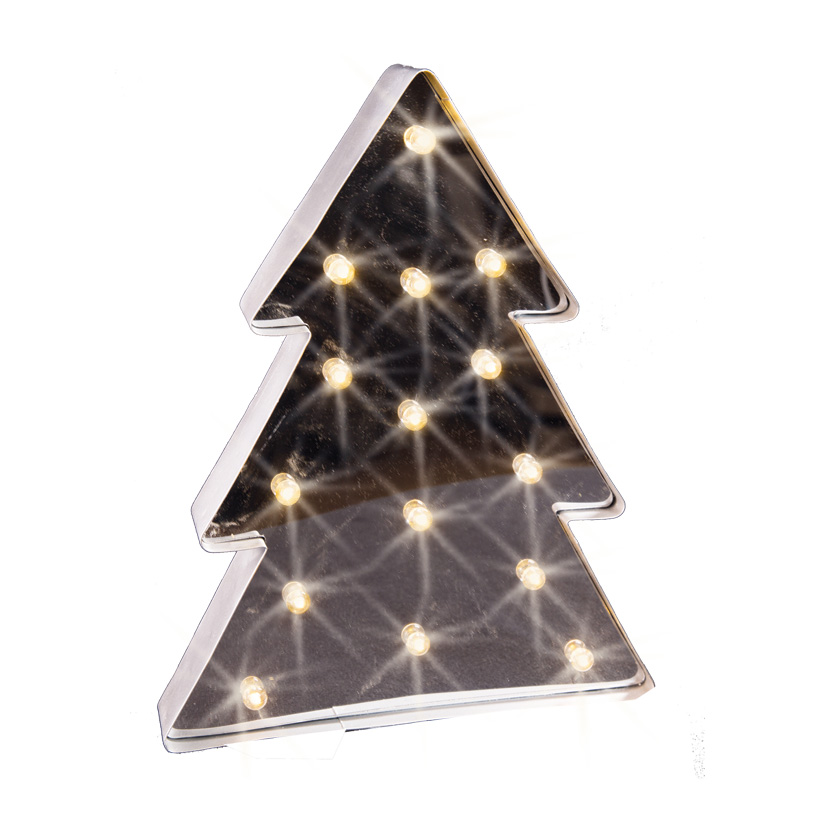 Baum beleuchtet, 41x32cm, 15LED Kügelchen, Blech mit Spiegel, Batteriebetrieb, 3xAA nicht inklusive