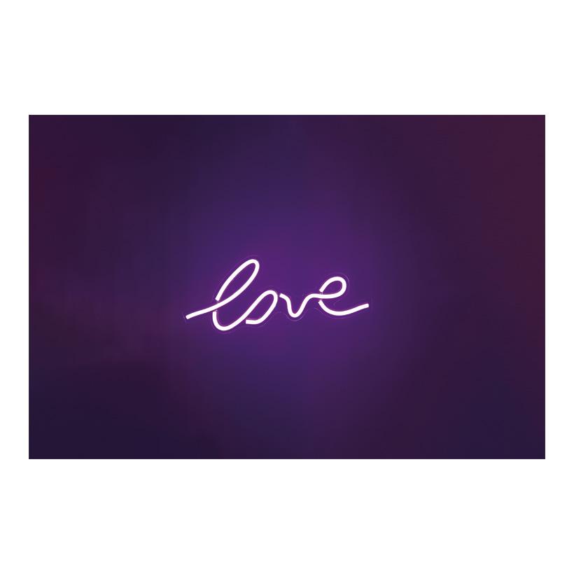 """LED-Schriftzug """"love"""", 45x18cm mit Ösen als Wandbefestigung, für den Innenbereich, 2m Zuleitung, mit USB-Anschluss, ohne Stecker"""