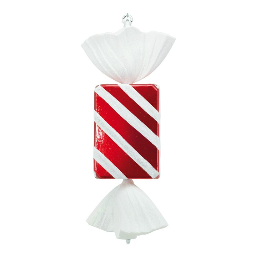 Bonbon, 50cm, rechteckig, mit Hänger+Glitter, Kunststoff