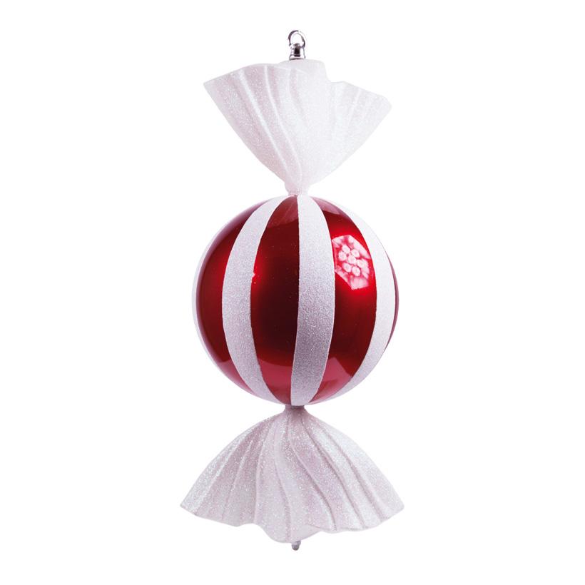 Bonbon, Ø 20cm, 47cm, rund, mit Hänger+Glitter, Kunststoff