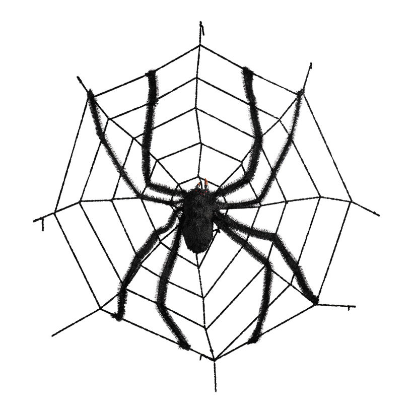 Spinnennetz mit Spinne, Ø 150cm, Kunststoff, Synthetik
