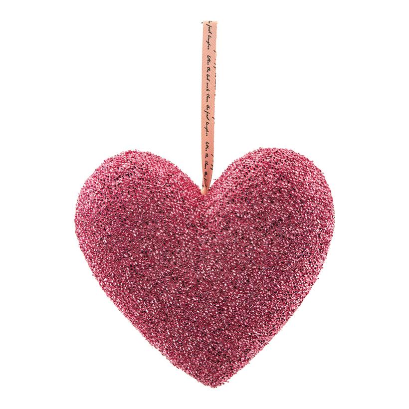 Herz mit Hänger, H: 21cm bezogen mit Glitterstoff, aus Hartschaum