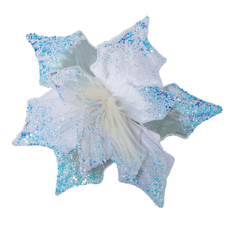 Blüte, 32cm glitzernd, mit Befestigungs-Clip, aus Styropor & Kunstseide