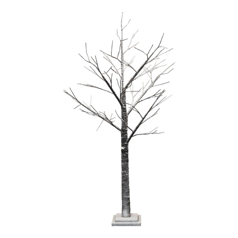 Baum, 125cm aus Holz, beschneit, Holzfuß: 17x17x2cm