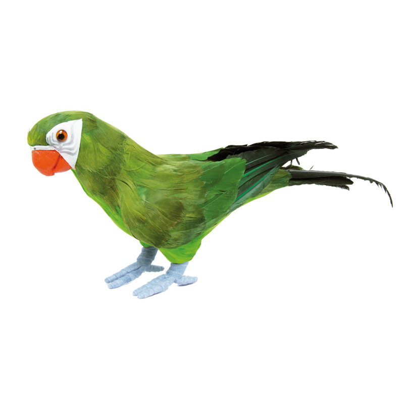 Papagei, stehend, 36x13cm, Styropor mit Federn