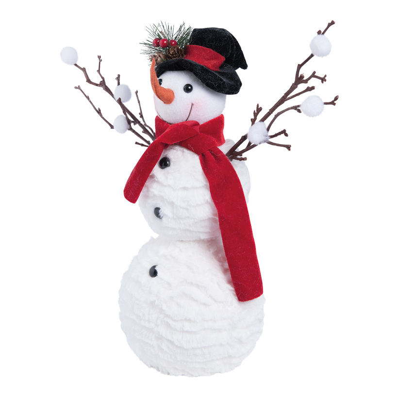 Schneemann, 34cm mit Hut und Schal aus Samt