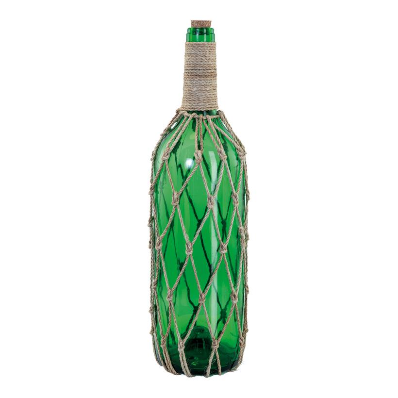 Flaschenpost mit Korken, H: 47cm dekoriert mit Seil, aus Glas