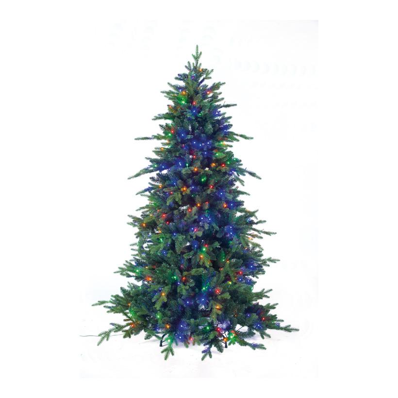 Edeltanne mit 500 bunten LEDs, 180cm Ø ca. 100cm 2538 Tips, PE/PVC-Mix, mit Metallständer, sehr natürliches Design