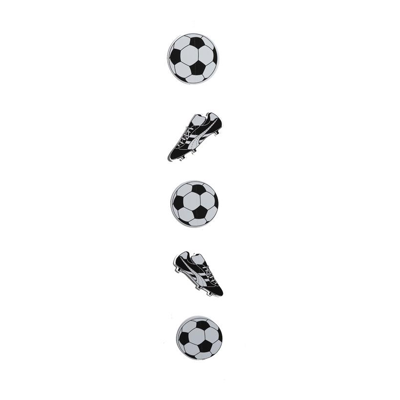 # Hänger, 5-fach 100cm mit 3 Bällen und 2 Fußballschuhen, aus Papier, schwer entflammbar