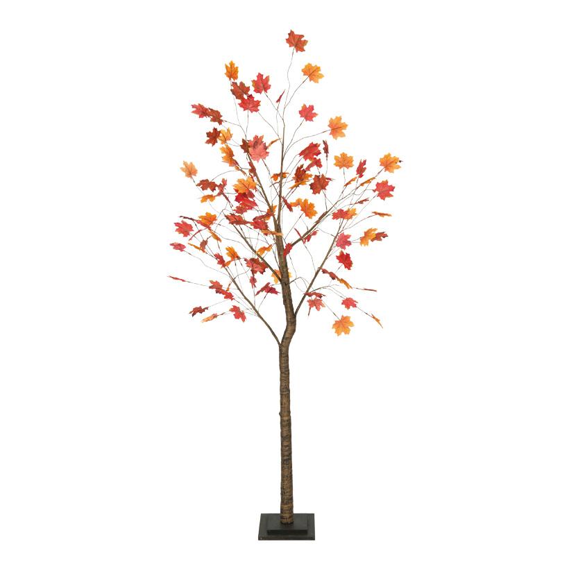 Ahornbaum, 200cm Stamm aus Holz, Blätter aus Kunstseide, Holzfuß: 24x24x4cm