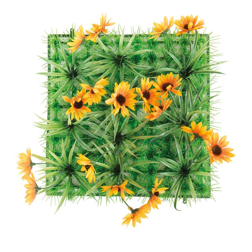 "Grasplatte ""Sonnenblume"", 24x24cm, Kunststoff, Kunstseide"