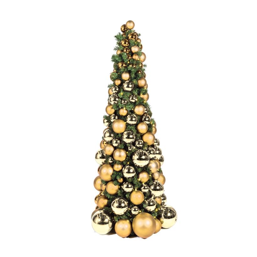 Kugelbaum, 180cm Ø ca. 80cm 900 PVC-Tips, dekoriert, 250 LEDs