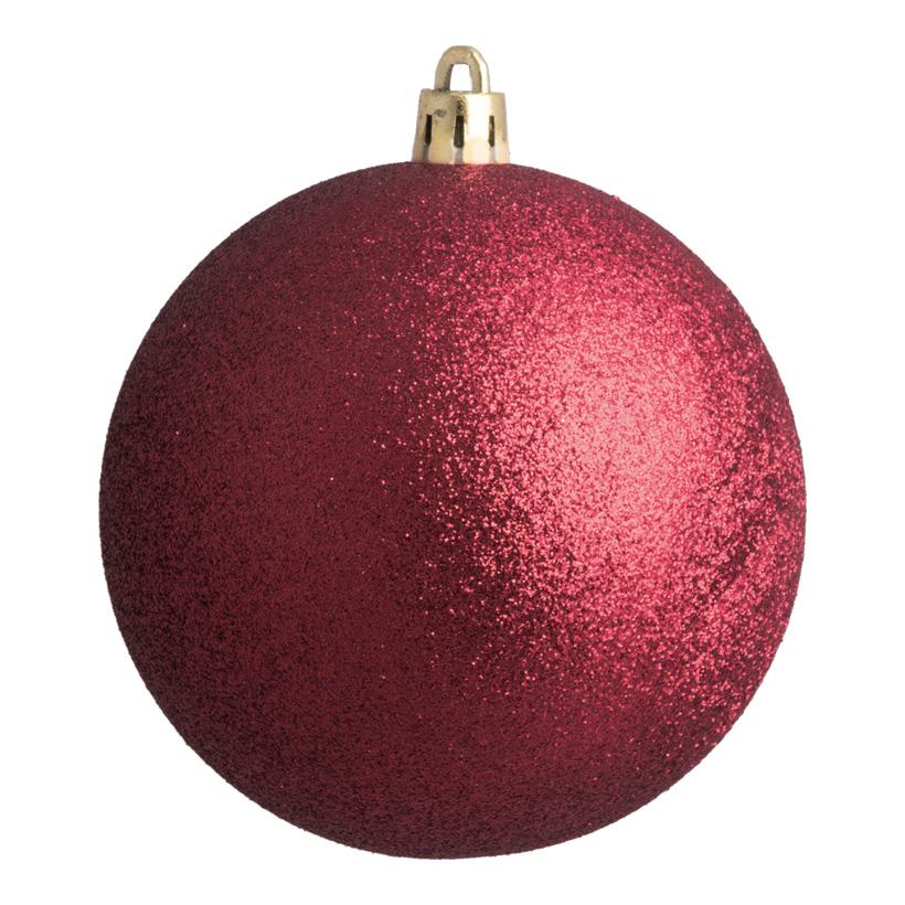 Weihnachtskugel, bordeaux beglittert, Ø 8cm 6 St./Karton