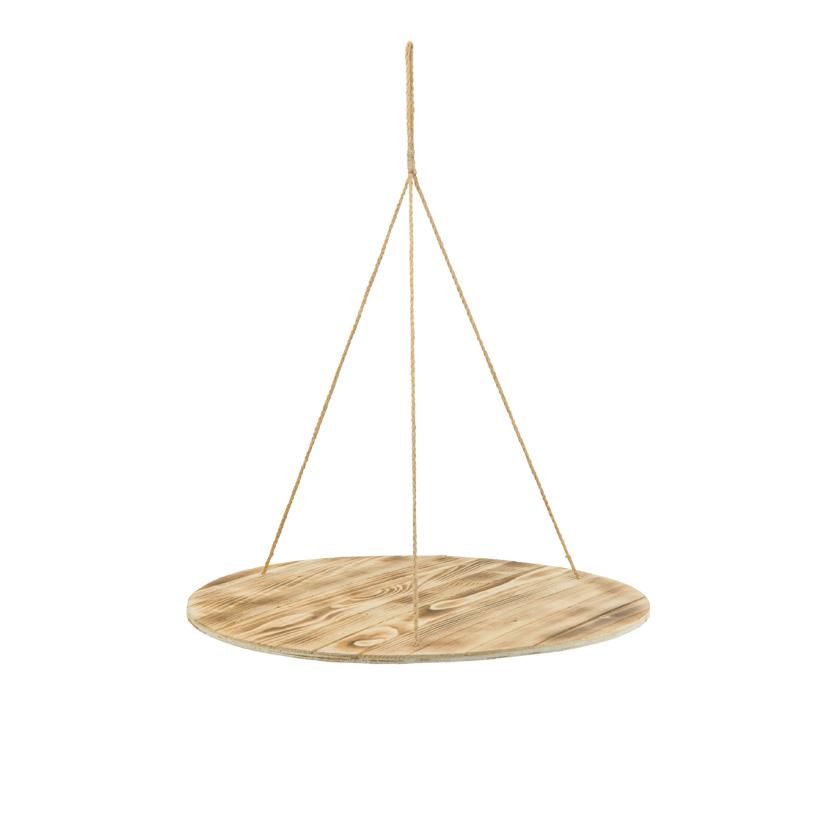 Hängetablett, 60x60x74cm rund, aus Holz, mit Naturfaserseilen, Dicke 1cm