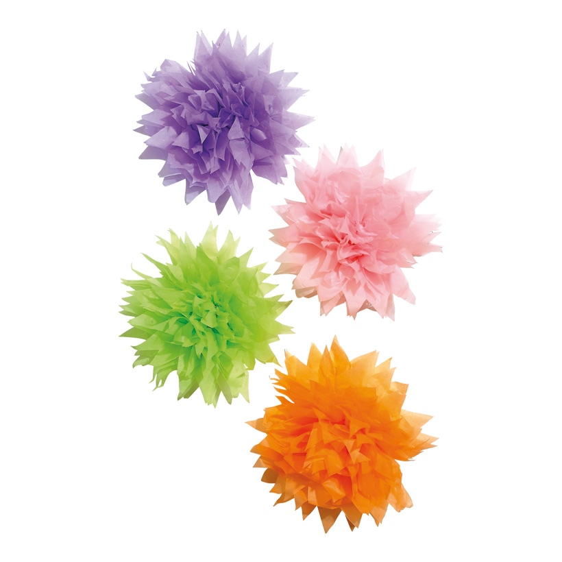 # Blüten XL Ø 35 cm Seidenpapier, flieder/pink/grün/orange 4 Stck./Satz
