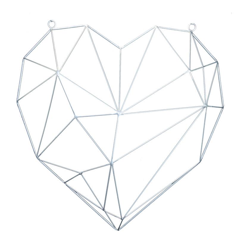 Herzkontur, 50x50cm aus Metall, mit Ösen zu Hängen