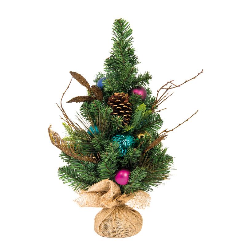 Tannenbaum, 60cm dekoriert, Kugeln & Zapfen