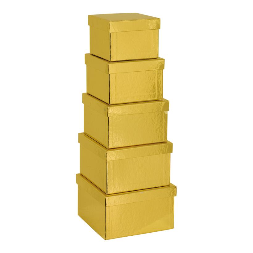 Boxen, 12,5x12,5x9cm - 18,5x18,5x11cm, 5 Stk./Satz, quadratisch, nestend, Pappe