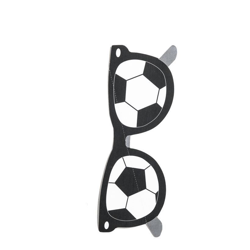 # Brille mit Fußballdruck, 40x15cm aus Papier, schwer entflammbar