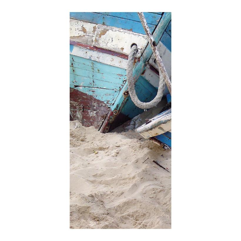 """# Motivdruck """"Fischerboote am Strand"""", 180x90cm Stoff"""