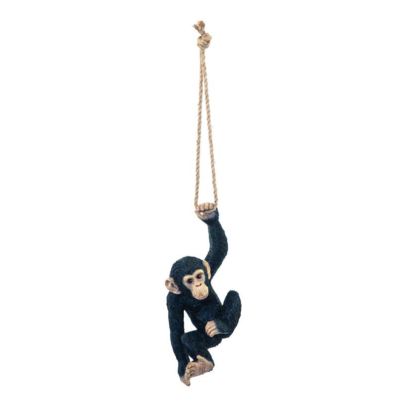 Affe, H: 40cm B: 17cm einarmig hängend, mit Seil, aus Kunstharz