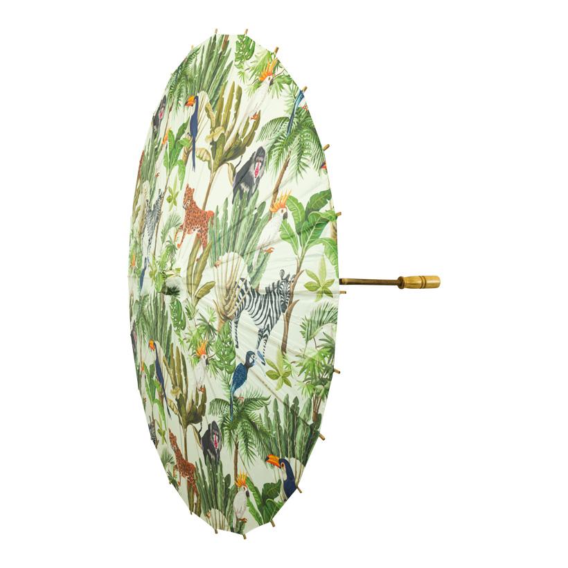 Papierschirm, Ø 84cm faltbar, Blätter & Tiere