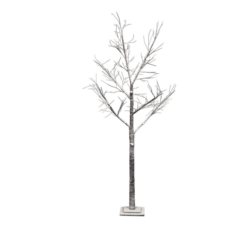 Baum, 200cm aus Holz, beschneit, Holzfuß: 24x24x4cm