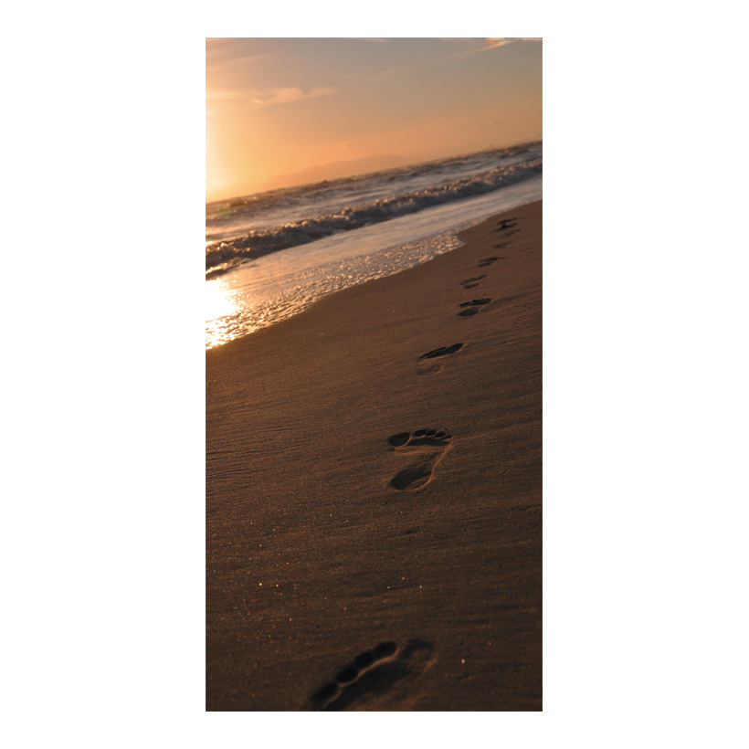 """# Motivdruck """"Fußspuren im Sand"""", 180x90cm Stoff"""