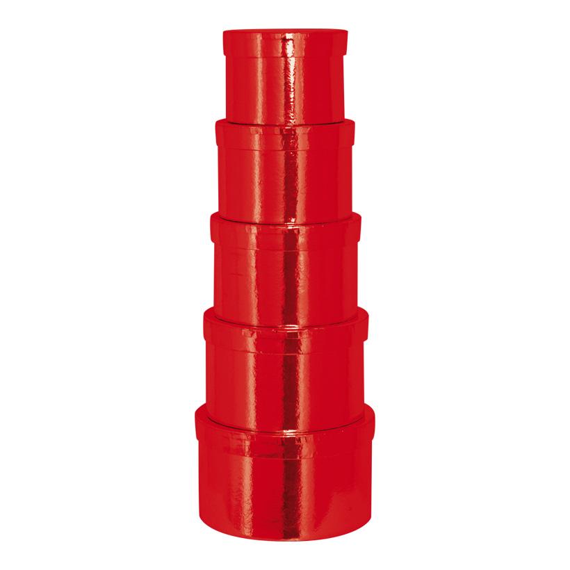 Boxen, Ø12,5x9cm - Ø18,5x11cm, 5 Stk./Satz, rund, nestend, Pappe