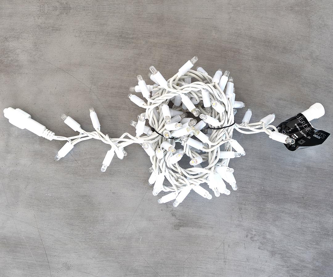 # LED Cluster Lichterkette, 2m Abstand zwischen den LEDs: 2cm, 100 LEDs, für Außenbereich, IP44, 50x koppelbar, ohne Stecker, 9,2 W