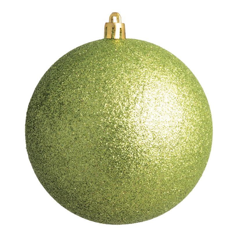 Weihnachtskugel, hellgrün beglittert, Ø 8cm 6 St./Karton