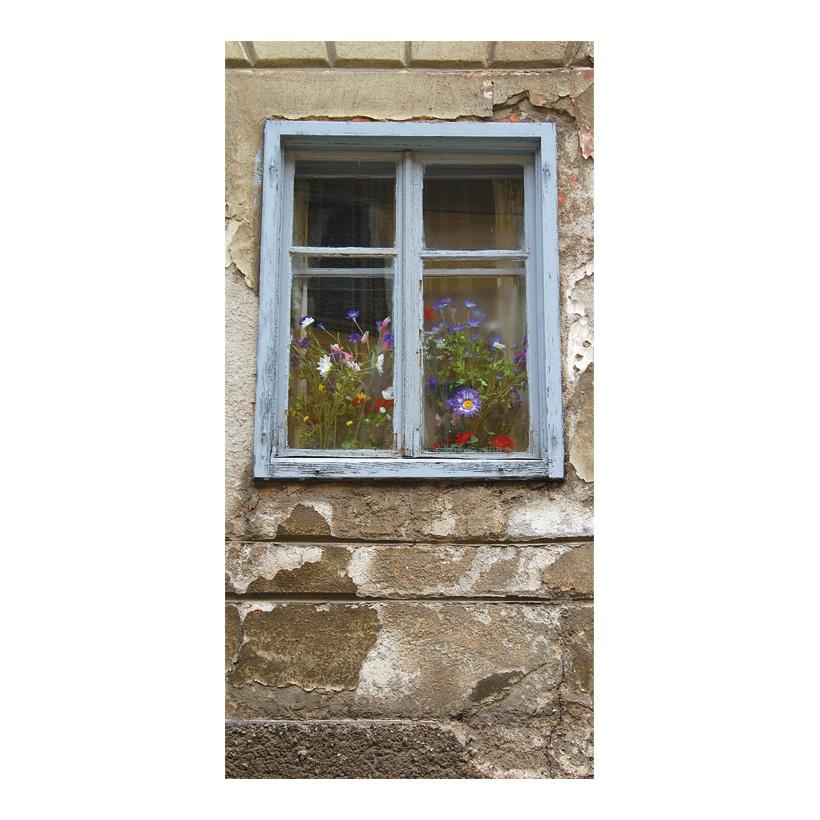 """# Motivdruck """"Blumenfenster"""", 180x90cm Stoff"""