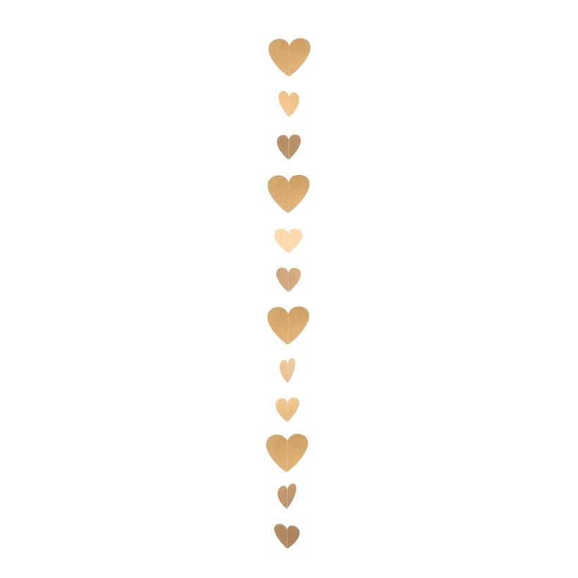 Papierherzengirlande, 200cm mit 12 Herzen in 10 & 15cm