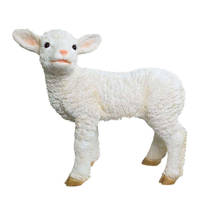 # Lamm, stehend, 40x38x16cm, zur Seite schauend, Polyresin, für Innen und Außen