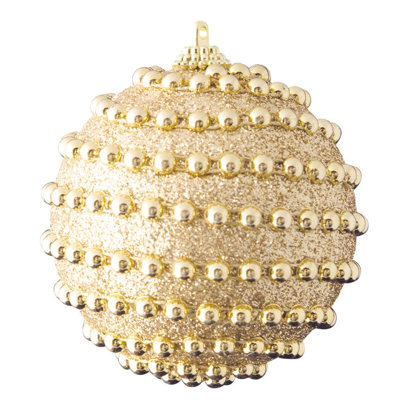 Weihnachtskugel, Ø 8cm dekoriert mit Perlen & Glitter
