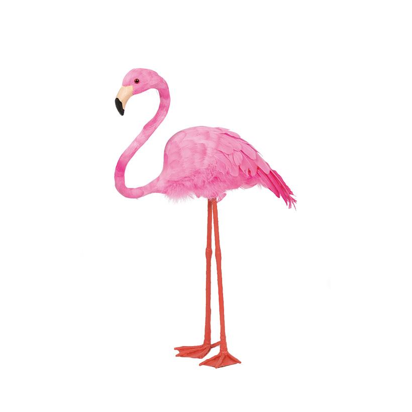 Flamingo, 38x12,5x43cm Kopf gehoben, aus Styropor, mit Federn