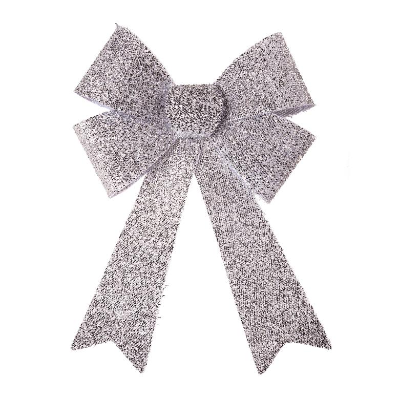 Schleife mit Glitter, 47x27x5cm Vorderseite mit Tinselüberzug, Rückseite glatt, aus Kunststoff