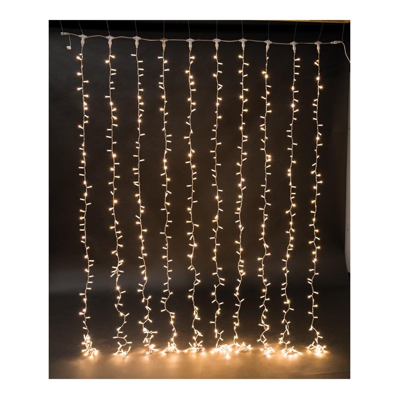 Gummi-Lichtvorhang 200x150cm mit 300 LEDs, 6x koppelbar, 220-240V, IP44 für außen, ohne Zuleitung & Stecker