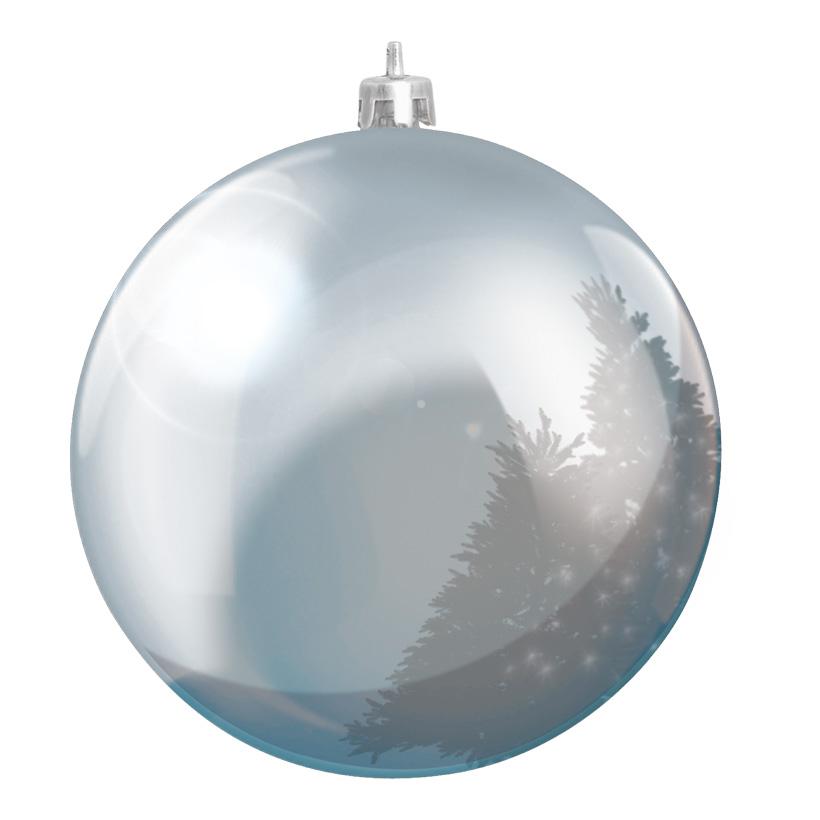 Weihnachtskugel, Silber, êØ 14cm, aus Kunststoff, Schwer entflammbar nach B1, UV-beständig