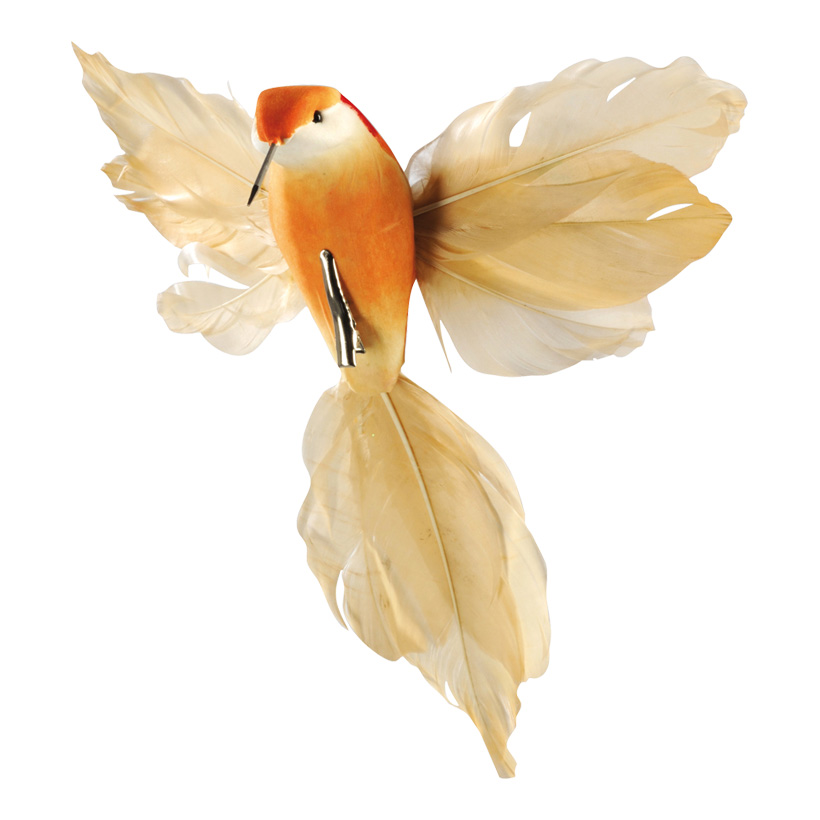 Kolibri mit Clip, 18x20cm, Styrofoam/Federn