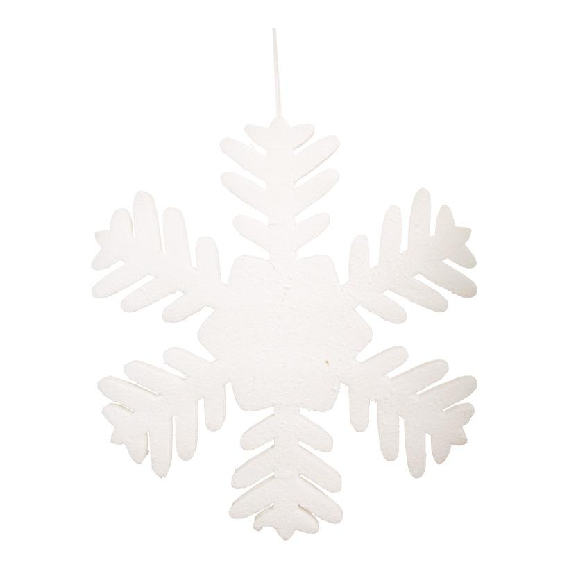 Schneeflocke, 50cm, mit Hänger, Schaumstoff, beschneit