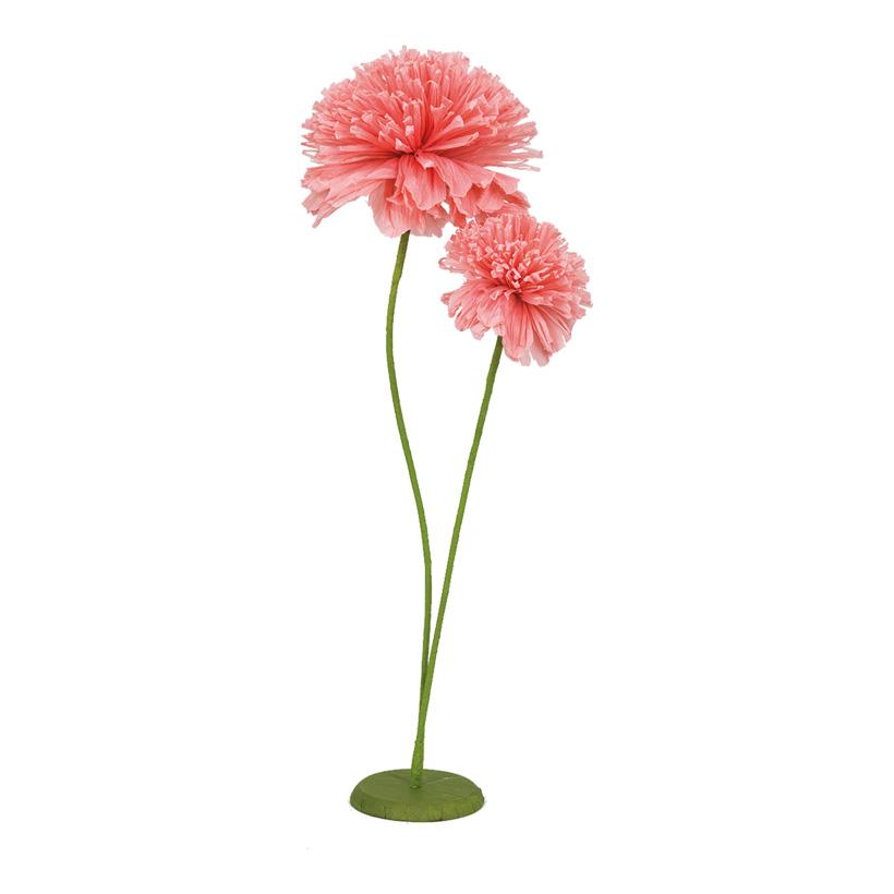 Papierblume, 86cm mit Ständer, mit 2 Blütenköpfen