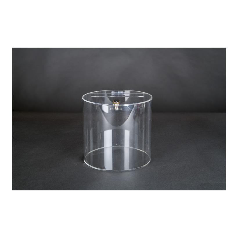 # Acryl-Losbox, 15x15x17cm zylindrisch, mit abschließbarer Klappe