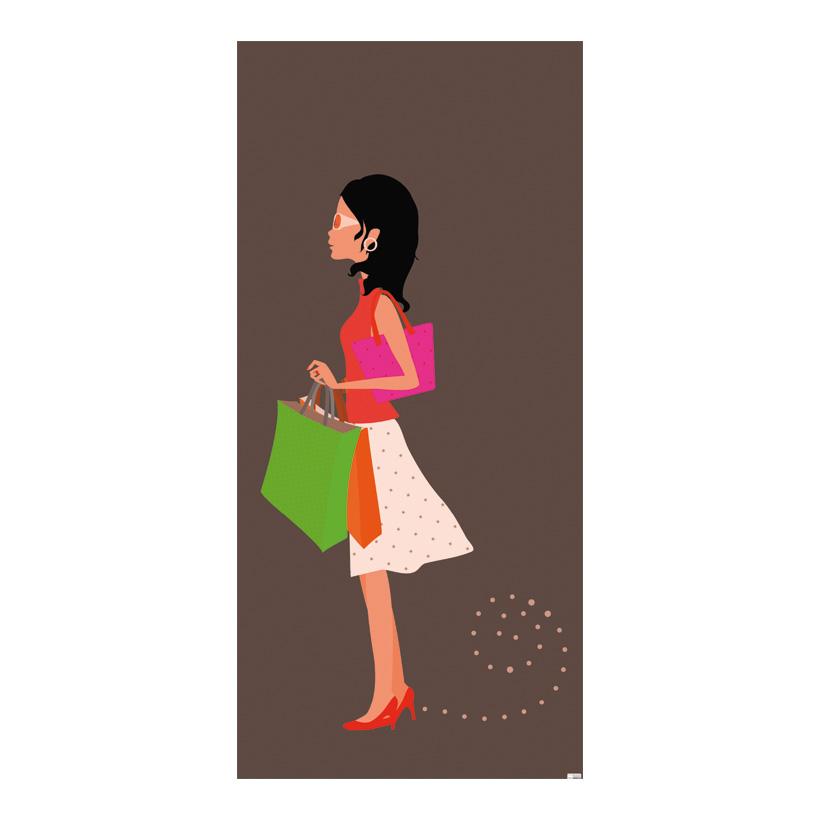 "# Motivdruck ""Shopping Girl"", 180x90cm Stoff"