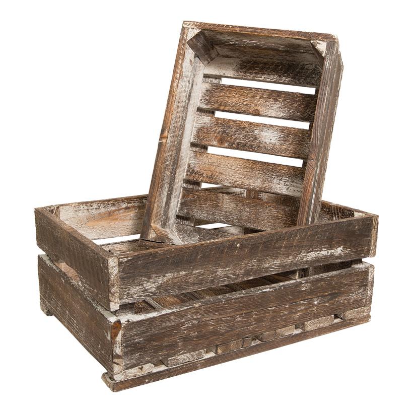 Apfelkisten, 40x29x16 & 34x23x13cm, 2Stck./Set, Holz, used look, ineinander passend