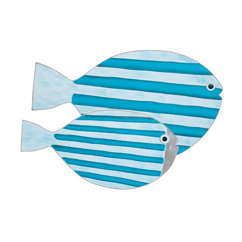 Fische, 50x30cm 30x15cm mit Öse zum Aufhängen, im 2er-Set, bedruckt, aus Holz