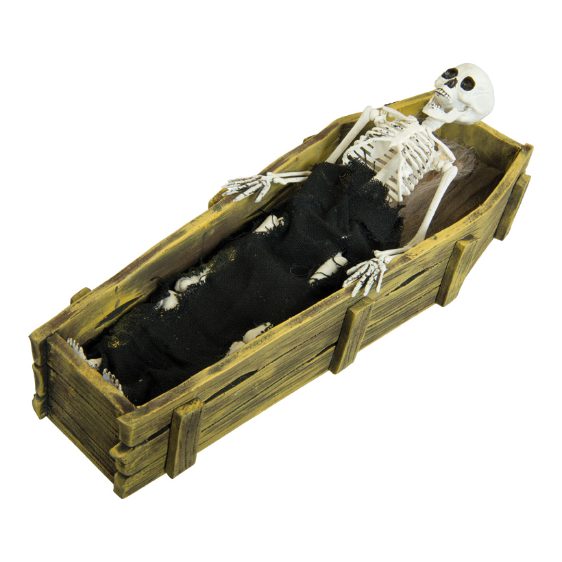 Skelett im Sarg, 44x15x9cm macht Geräusche und bewegt sich, aus Styropor/Kunststoff/Stoff, batteriebetrieben, 3x AAA, nicht inklusive