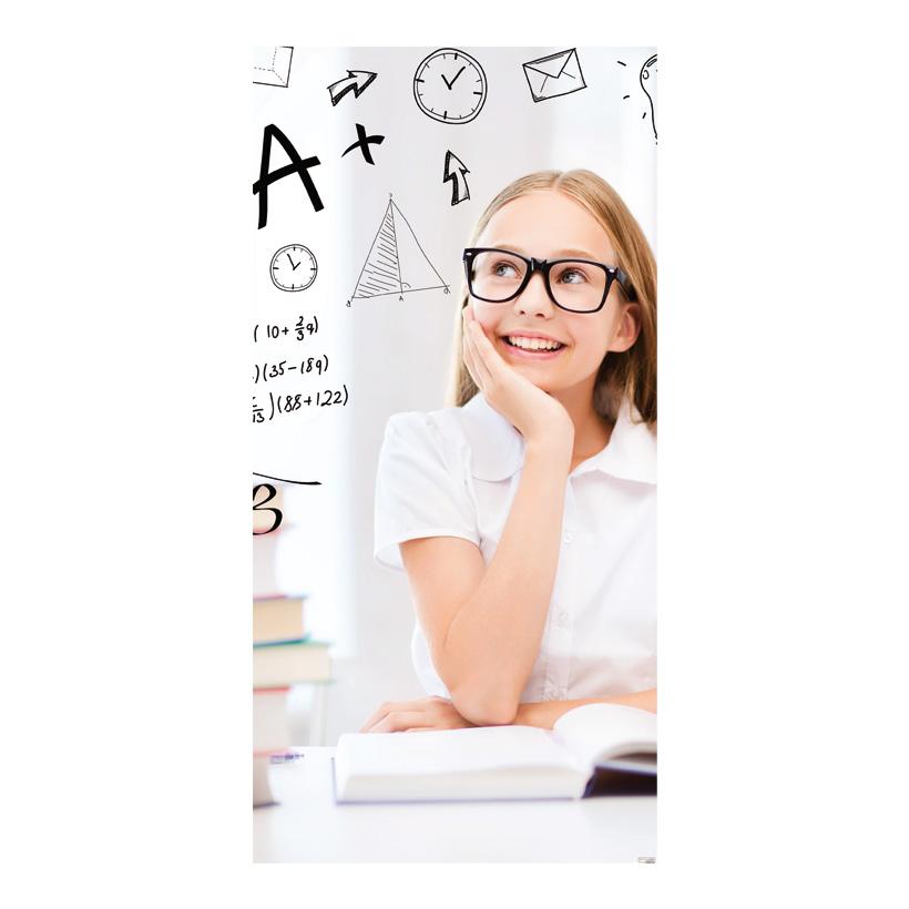 """# Motivdruck  """"Hausaufgaben"""", 180x90cm Stoff"""