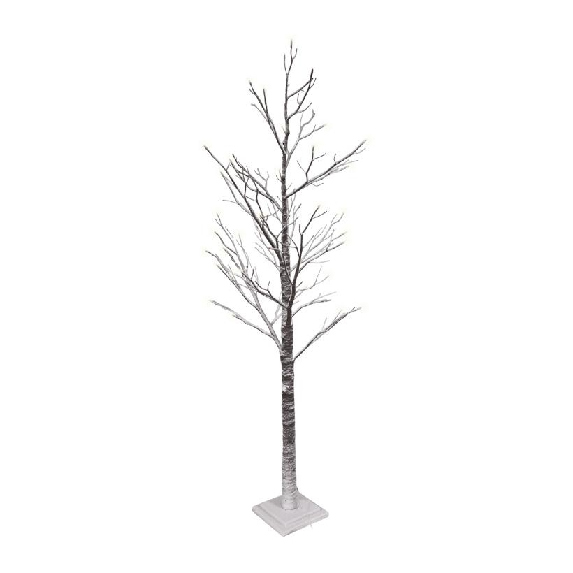 Baum mit Standfuß, 210cm, 60LEDs, beschneit, Holz+Papier