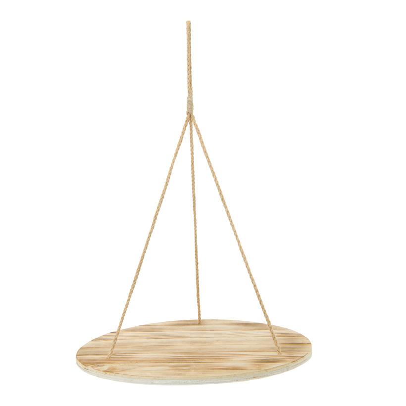 Hängetablett, 40x40x58cm rund, aus Holz, mit Naturfaserseilen, Dicke 1cm